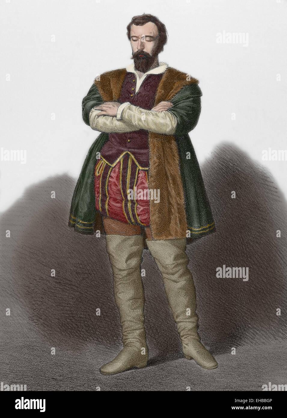 Juan Lopez de Padilla (1490-1521). Insurrectionary leader in the Castilian War of the Communities. Portrait. Engraving - Stock Image