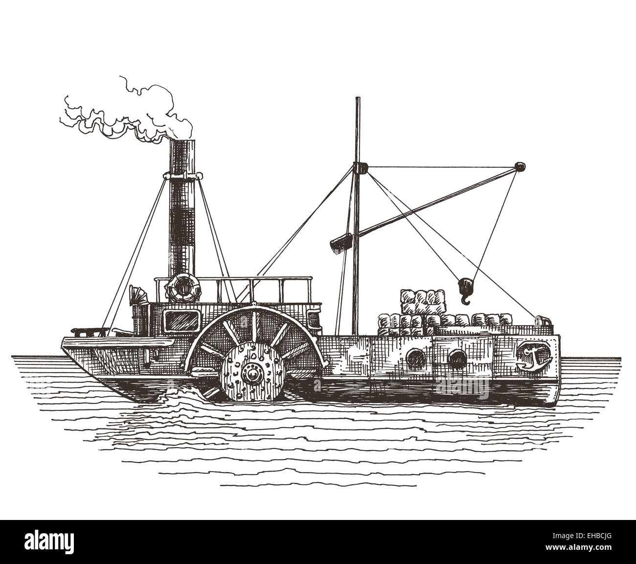 ship vector logo design template. steamboat or steamship icon. - Stock Image
