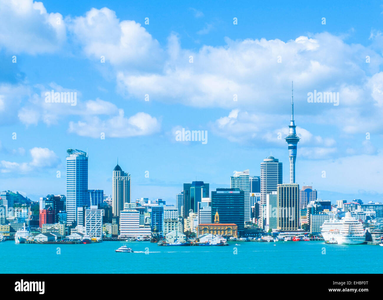 Auckland Skyline New Zealand North Island - Stock Image