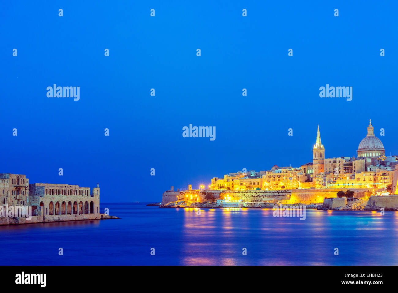 Mediterranean Europe, Malta, Valletta, St. Paul's Anglican Cathedral and Carmelite Church - Stock Image
