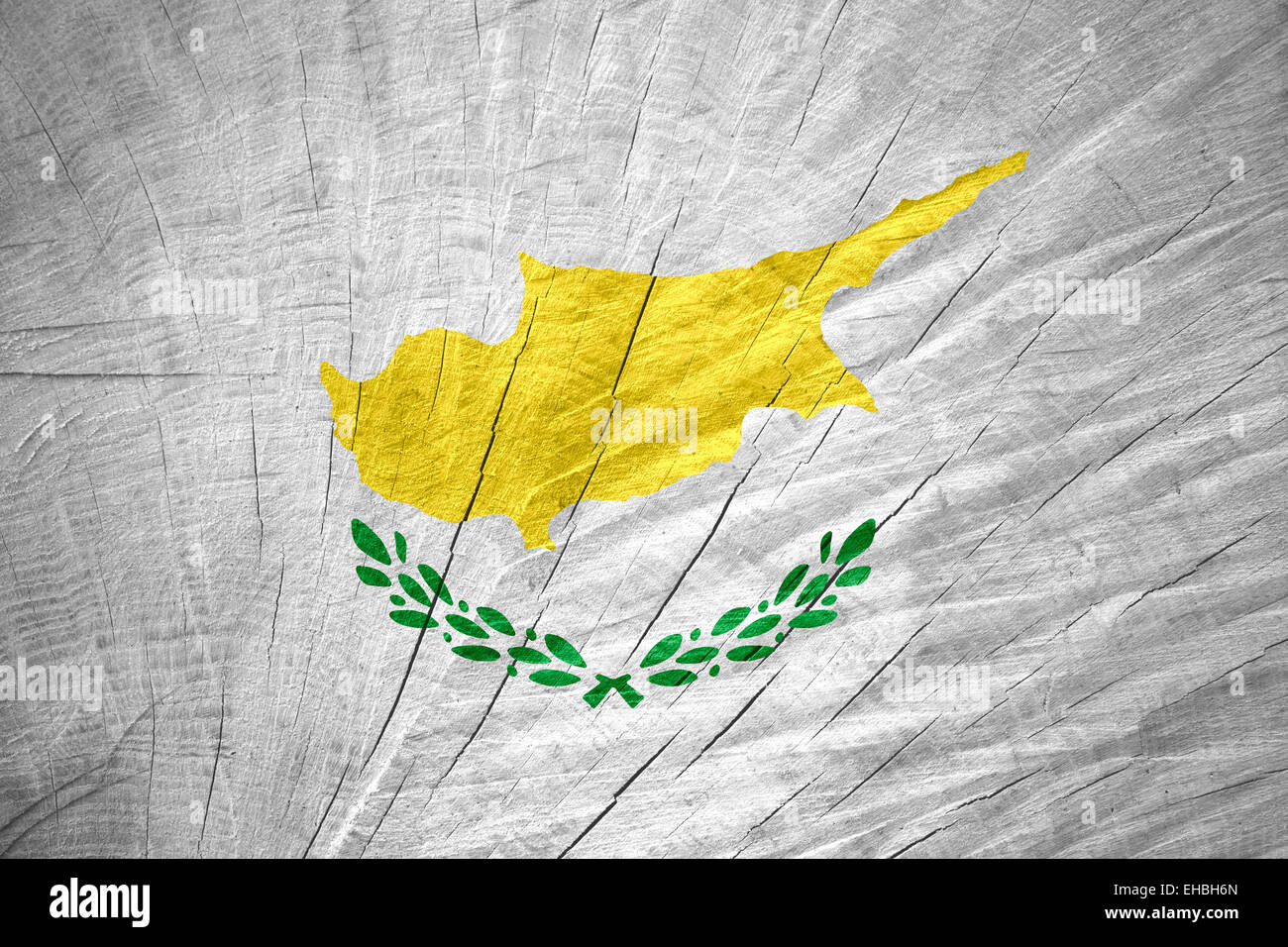 Cyprus flag or Cypriot banner on wooden texture - Stock Image