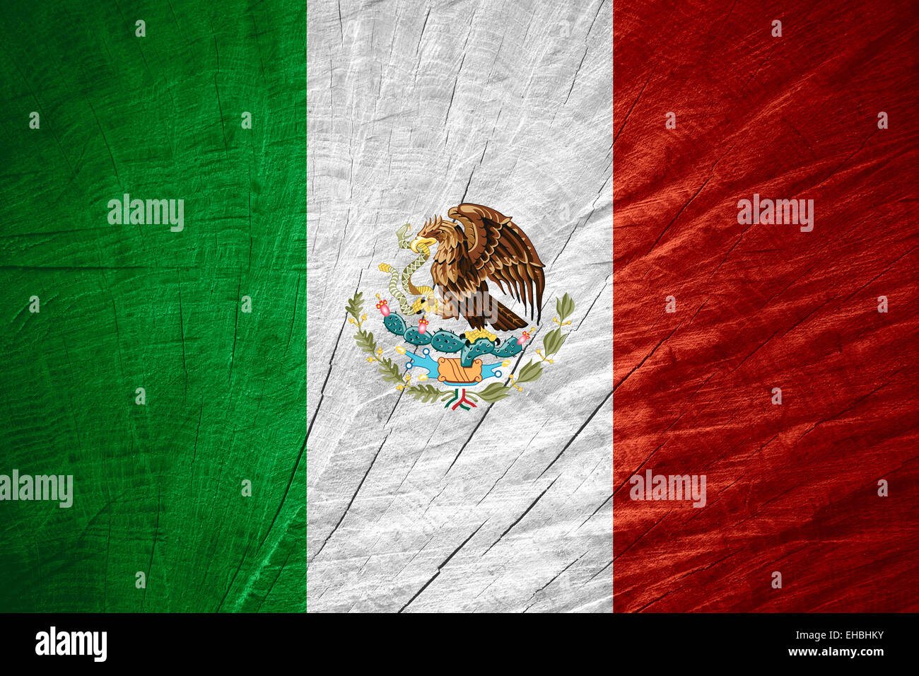 Mexico flag or Mexican banner on wooden texture - Stock Image