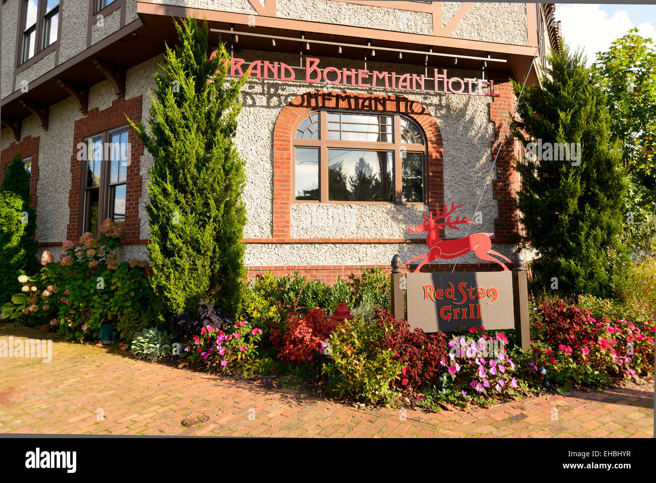 The Red Stag Restaurant exterior at the Grand Bohemian Hotel, Asheville North Carolina - Stock Image