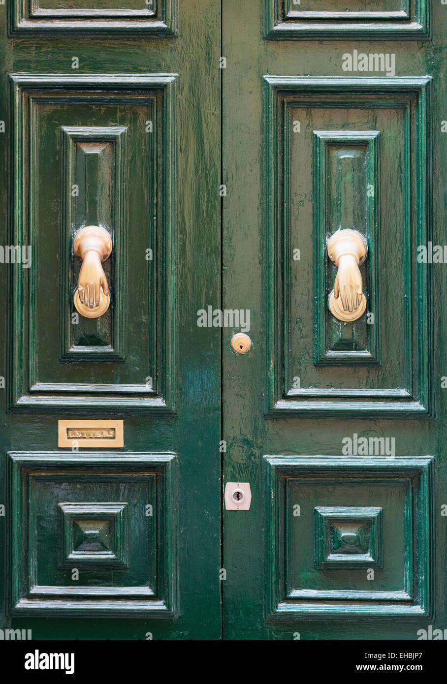 Mediterranean Europe, Malta, Valletta, decorative door knockers - Stock Image
