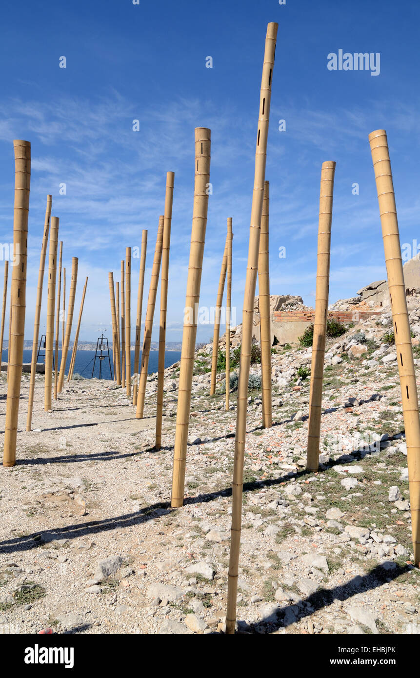 Wind Instrument Musical Bamboo Poles or Musical Art Installation to Capture the Sound of the Wind Les Goudes Marseille - Stock Image