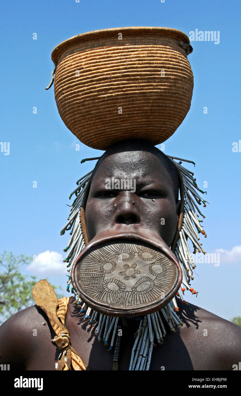 Mursi Tribe Woman With Lip Plate, Omo Valley, Ethiopia - Stock Image