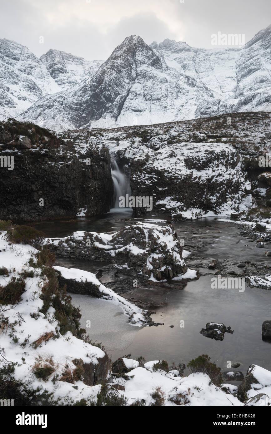 Fairy Pools in winter, Glen Brittle, Isle of Skye, Scotland Stock Photo