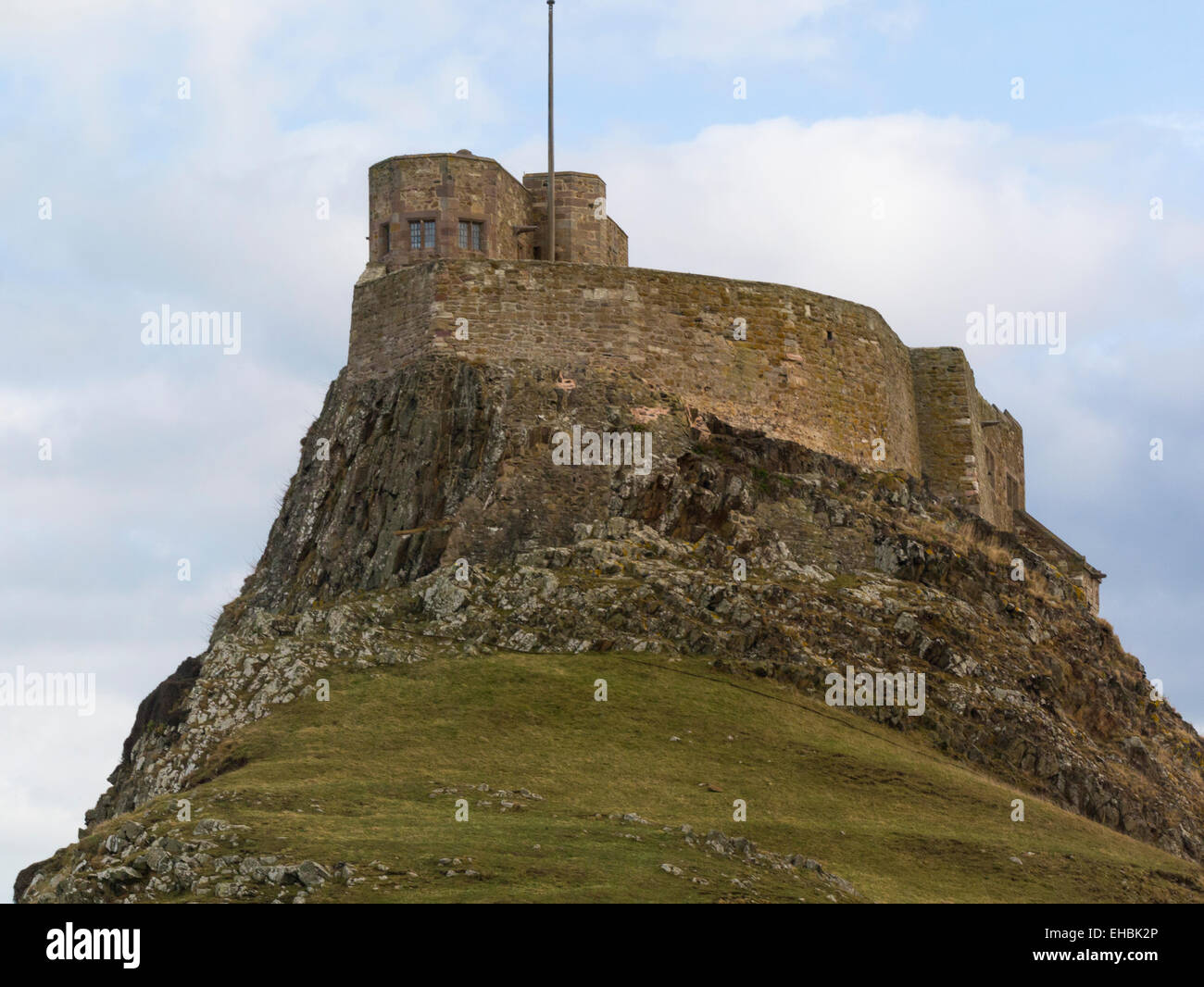 Lindisfarne Castle on Holy Island 16thc fortification changed by Edwin Lutyens  into family home 1901 Northumberland - Stock Image