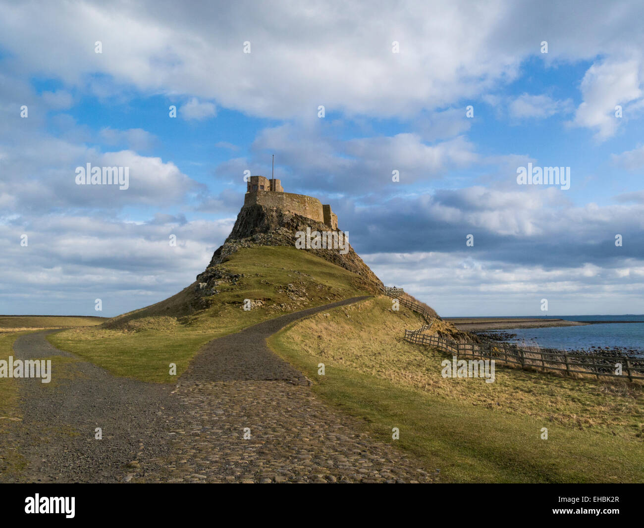 Lindisfarne Castle on Holy Island turned into family home by Edwin Lutyens 1901 16thc Fortification Northumberland - Stock Image