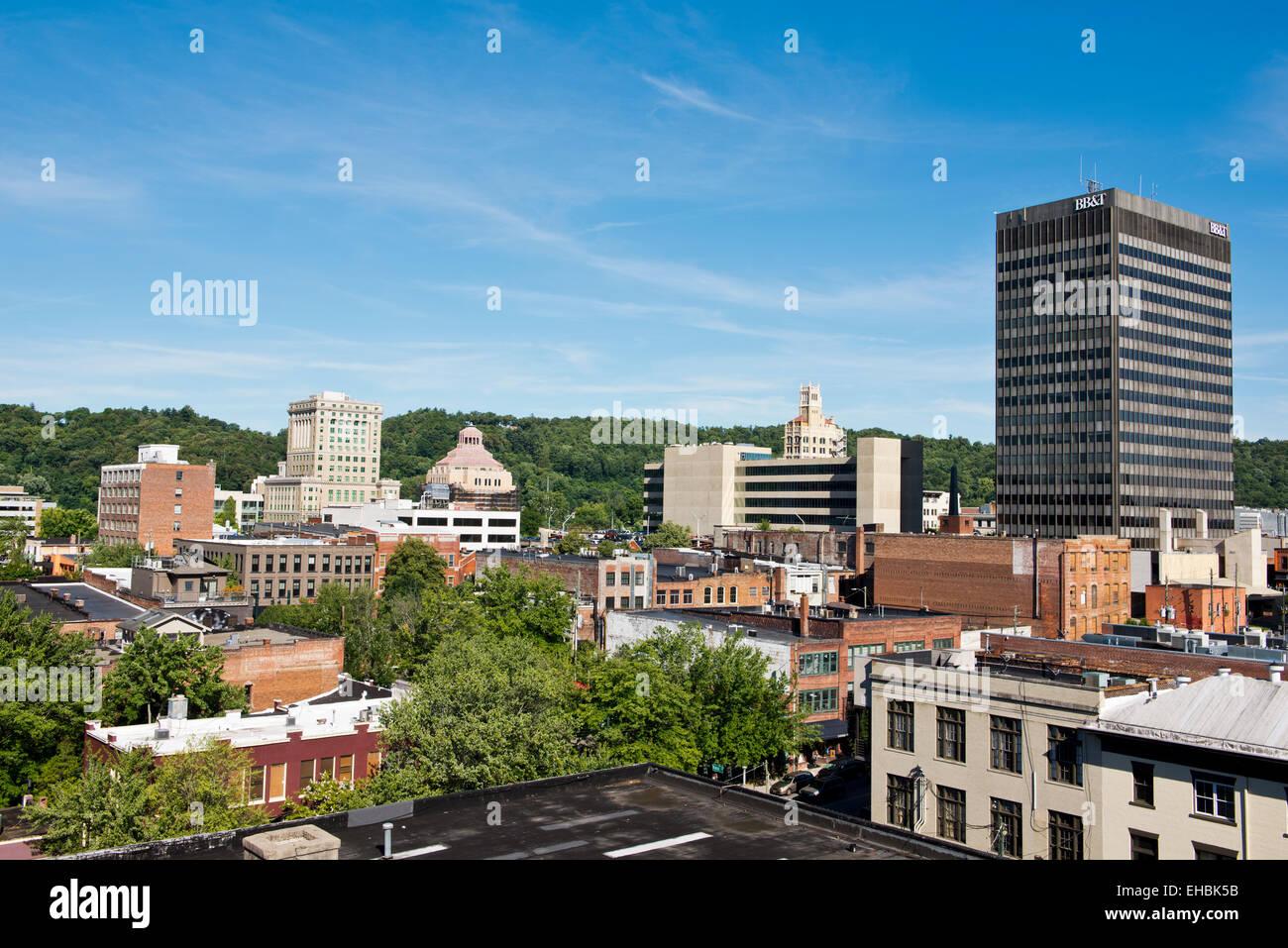 Asheville North Carolina city skyline - Stock Image
