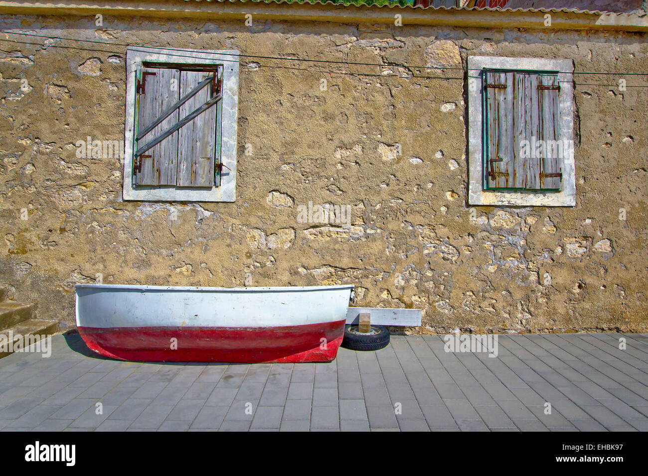 Dalmatian old boat street view - Stock Image