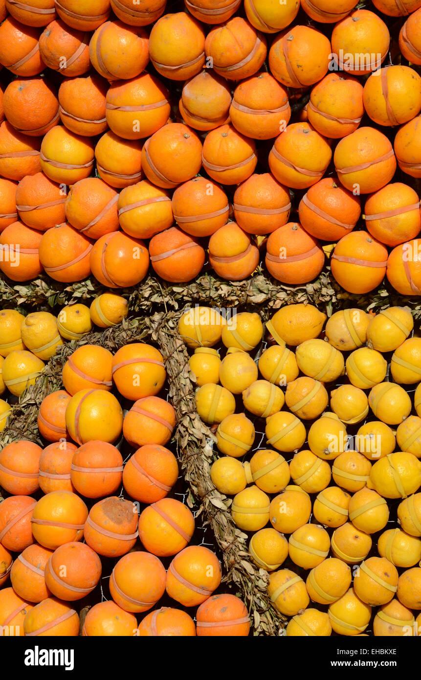 Oranges and Lemons Fruit Display on Market Stall Provence France - Stock Image
