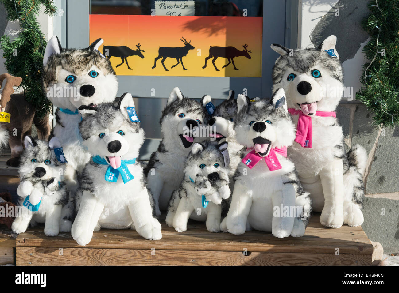 Toy husky dogs for sale in a souvenir and gift shop in Levi Lapland Finland - Stock Image