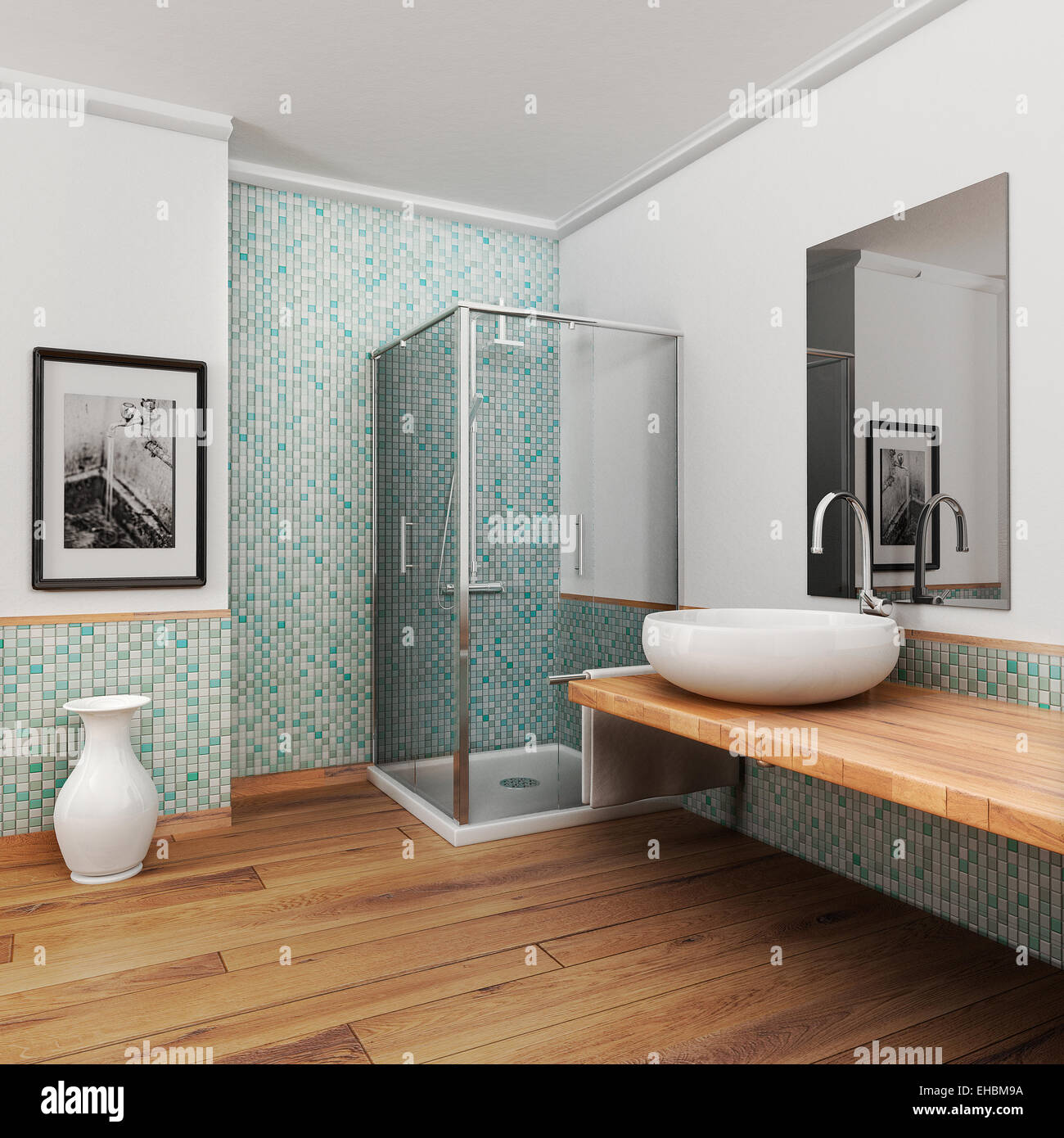 large bathroom with wood floor and vintage mosaic light blue and green - Stock Image
