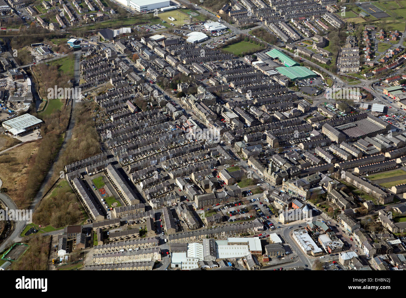 aerial view of the Lancashire town of Darwen - Stock Image