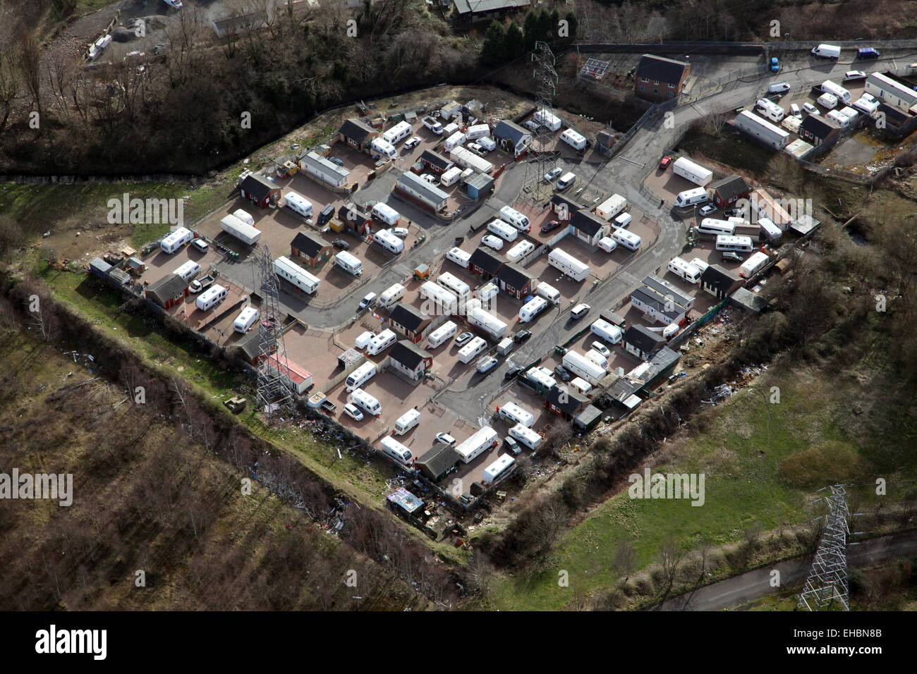 aerial view of a gypsy campsite caravan site in West Yorkshire, UK - Stock Image