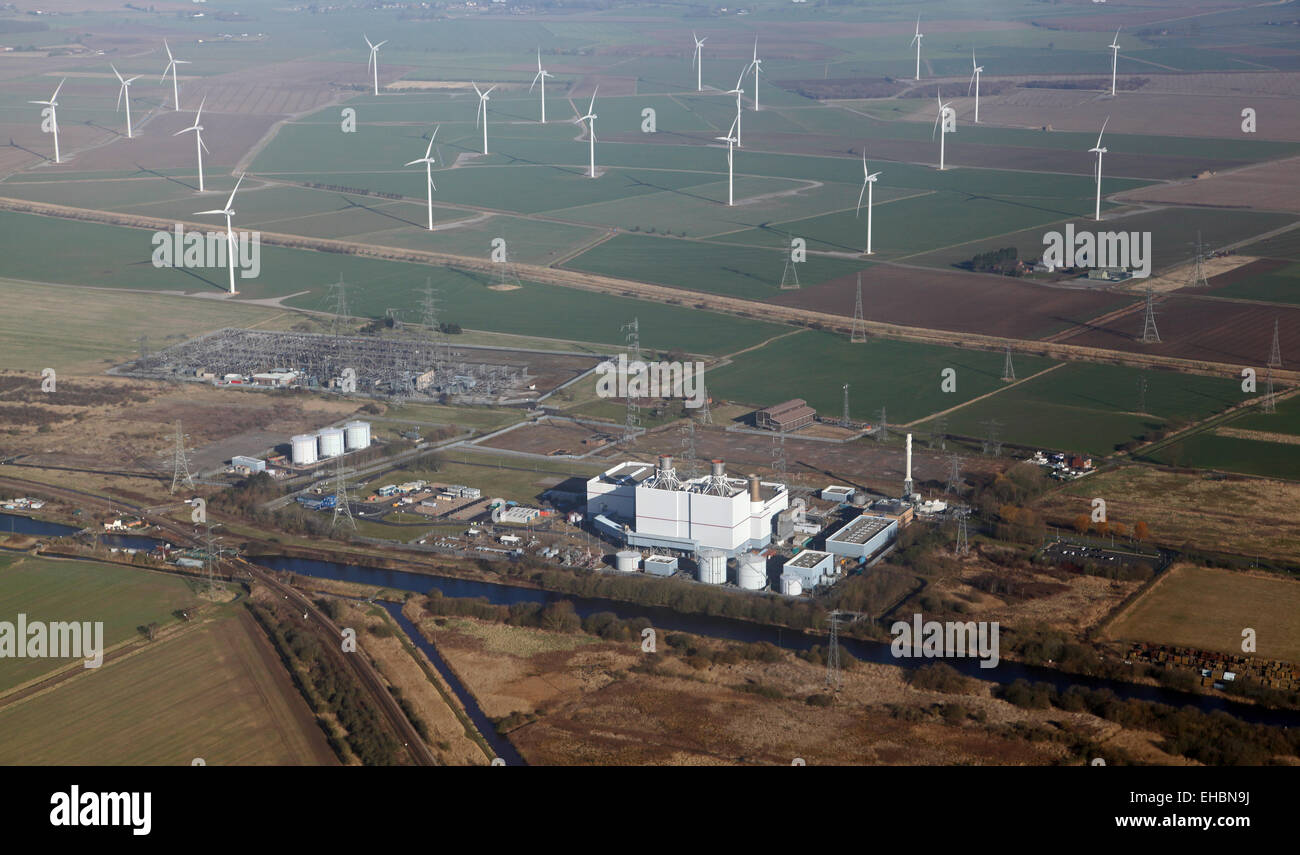 aerial view of Keadby Power Station (gas fired) and a wind farm, Lincolnshire, UK - Stock Image