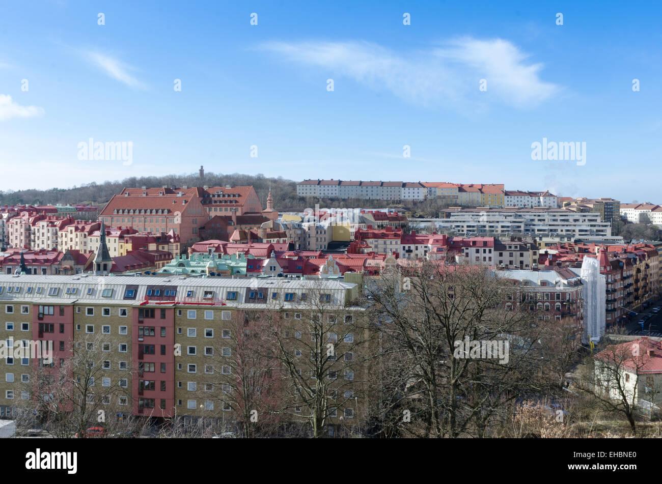 utsikt över linnestaden från skansen kronan - Stock Image