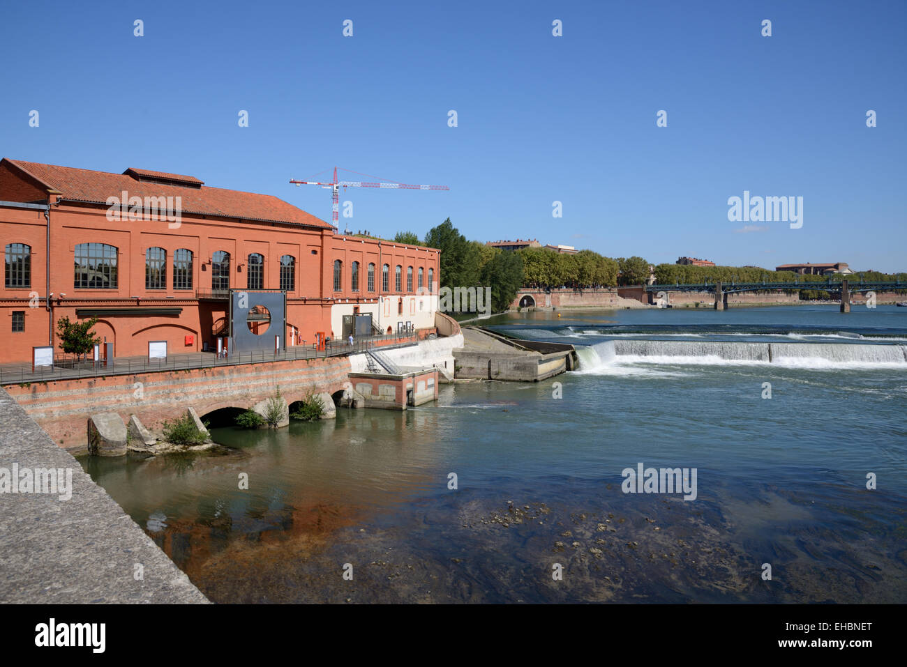 Bazacle Hydro-Electric Barrage or Dam Hydroelectricity or Electricity Power Station and Weir on Garonne River Toulouse - Stock Image