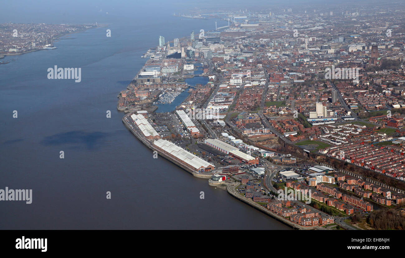 aerial view of Liverpool and The Mersey Estuary, Merseyside, UK - Stock Image