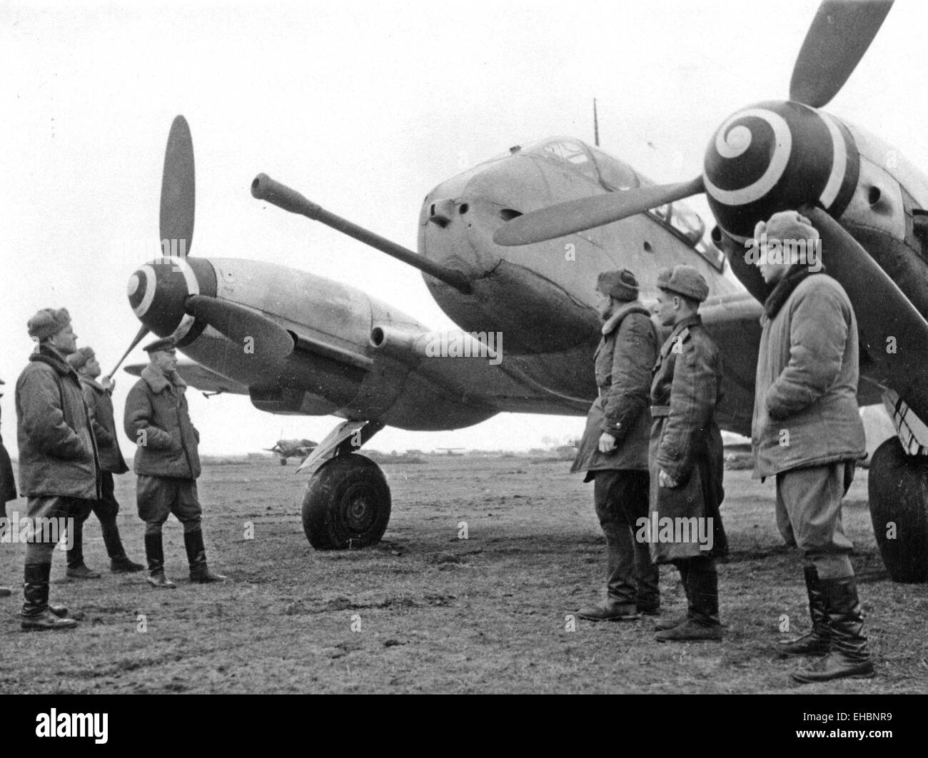 MESSERSCHMITT  Me 210  on a German airfield in South Pomerania captured by Soviet forces about 1942. The aircraft - Stock Image
