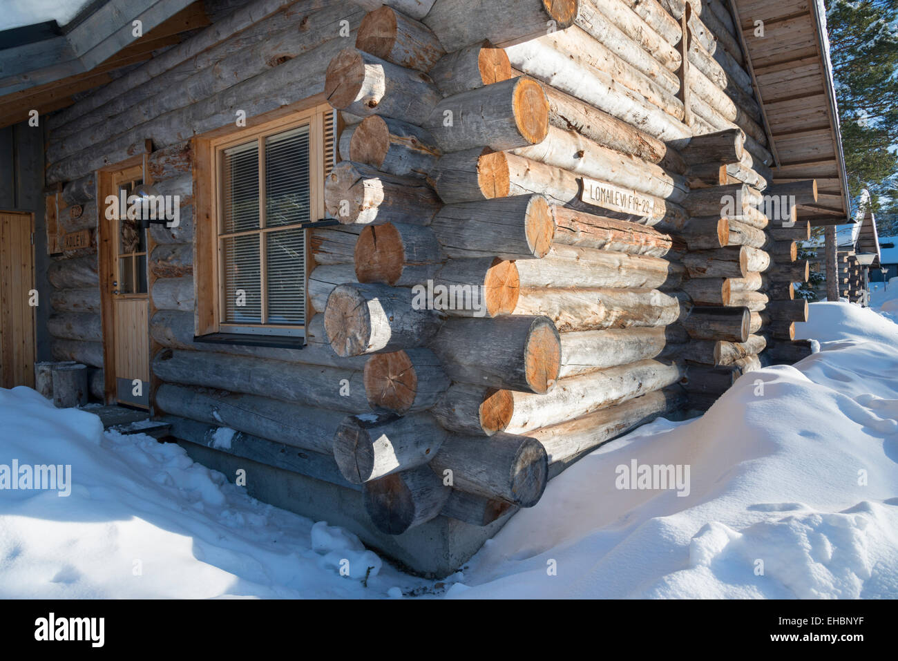 Detail Of A Log Cabin Building Showing The Corner Joints Of The Logs. A Log