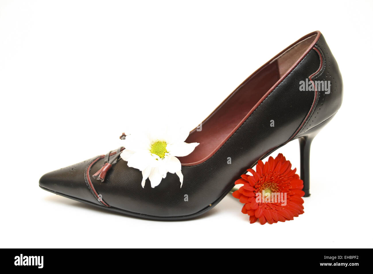 Shoe with flowers - Stock Image