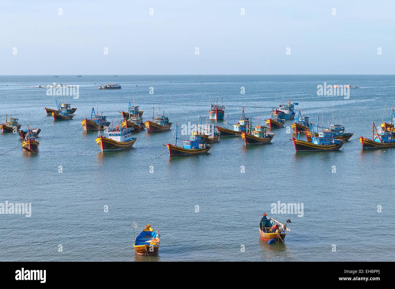 Fishing village with a bunch of fishing boats. Mui Ne. Vietnam - Stock Image