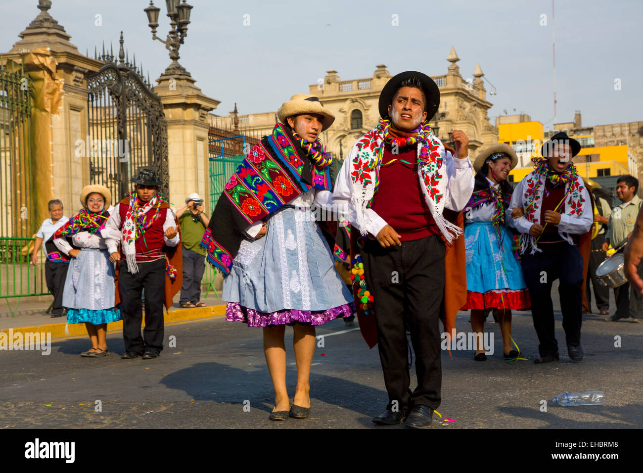 Carnival, Mardi Gras, Ciudad de los Reyes, Historic center of the city, Lima, Peru - Stock Image