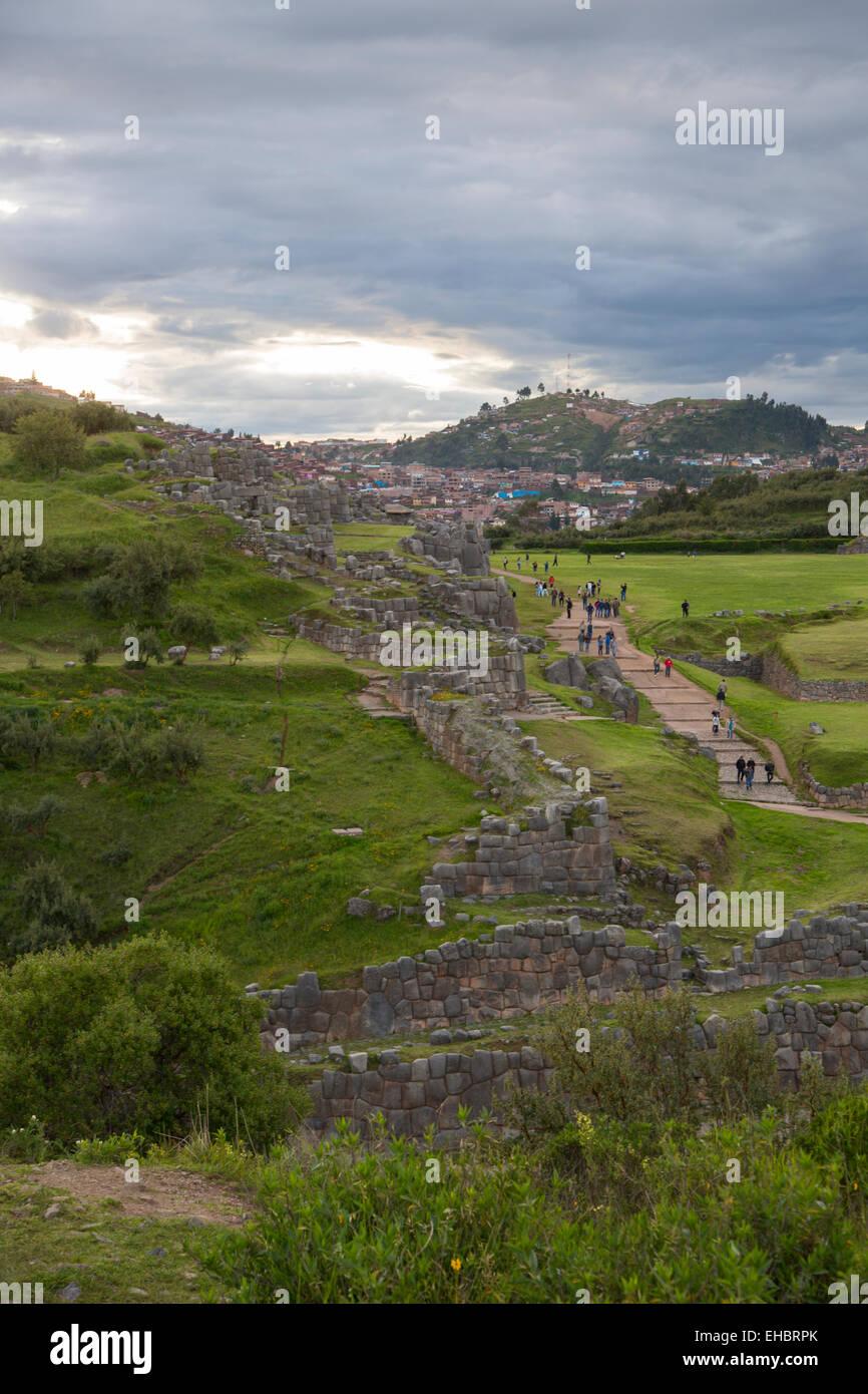 Saksaywaman, Incan archaelogical site, Cusco, Urubamba Province, Peru - Stock Image