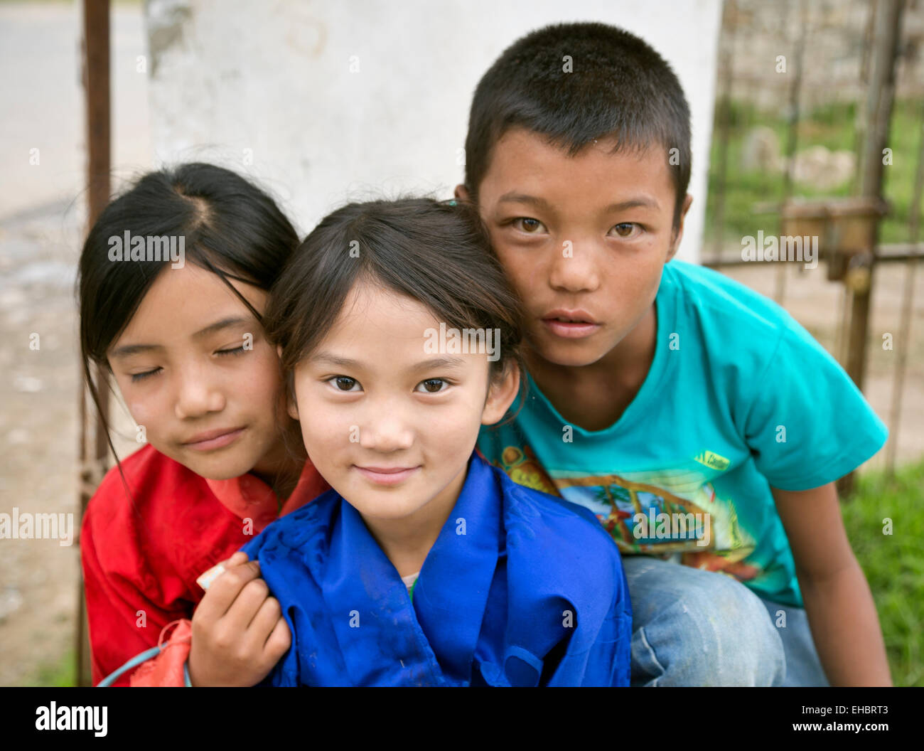 BU00306-00...BHUTAN - Young children enjoying a day off from school during a religious holiday in Paro. - Stock Image