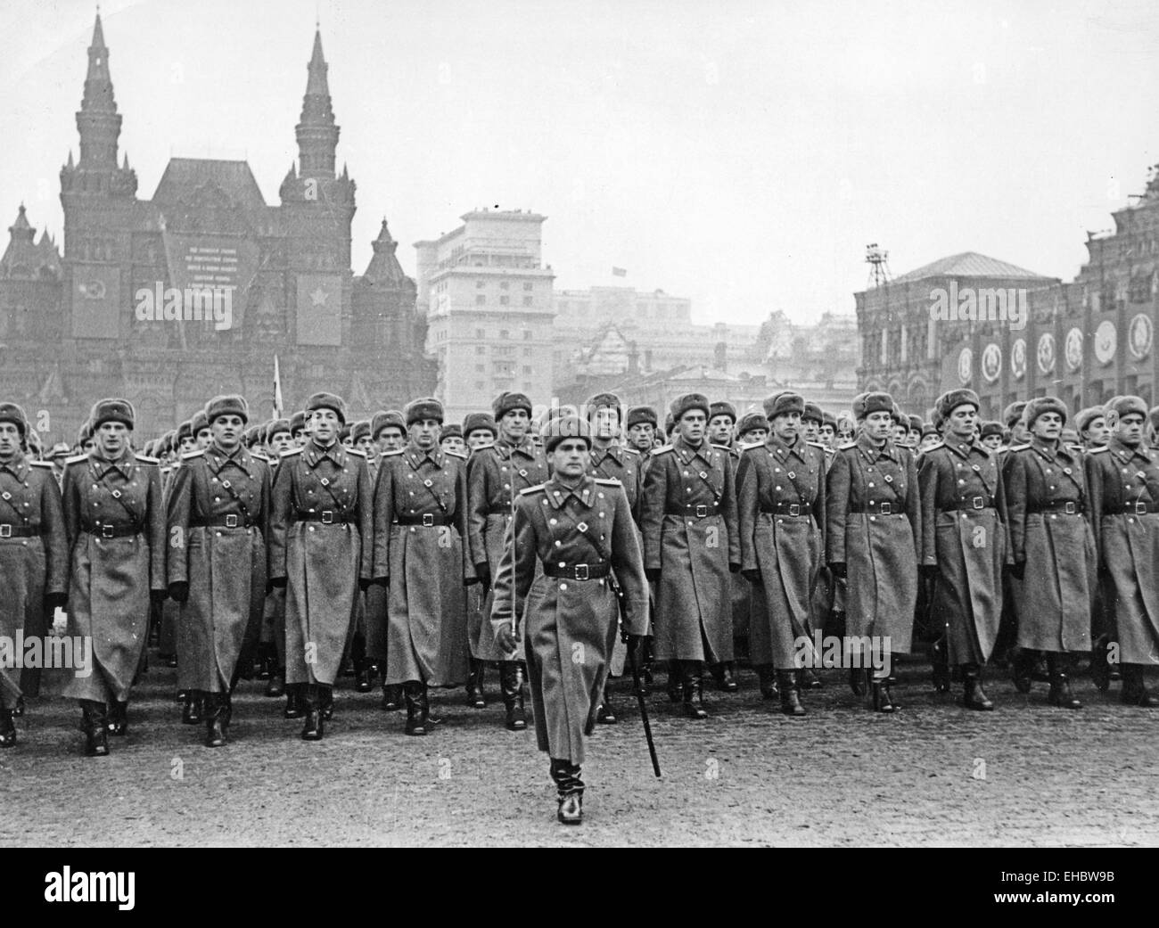 MOSCOW PARADE on Red Square for 29th Anniversary of the Soviet Union, 7 November,1946 - Stock Image