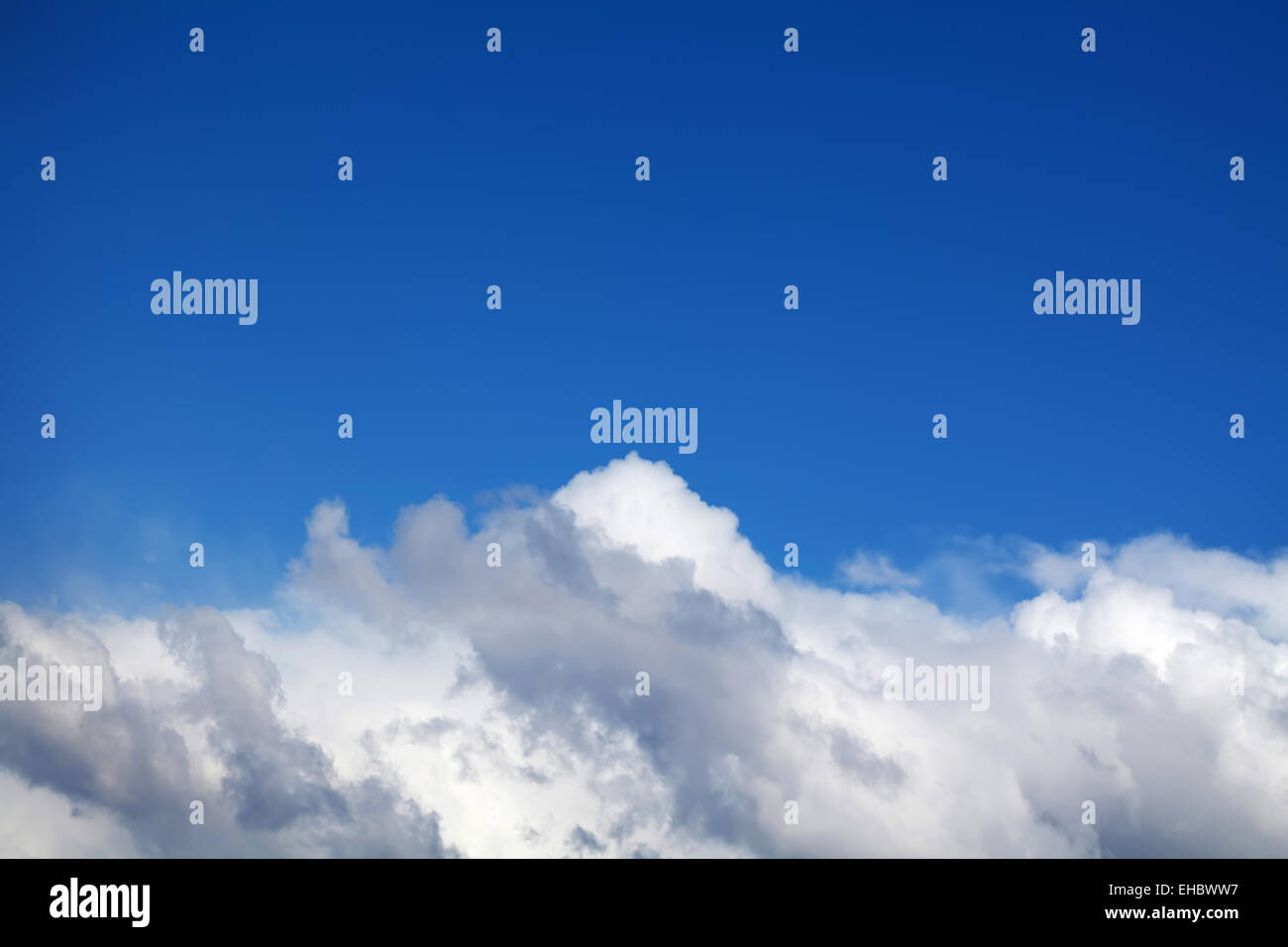 Blue sky with clouds. View from airplane - Stock Image