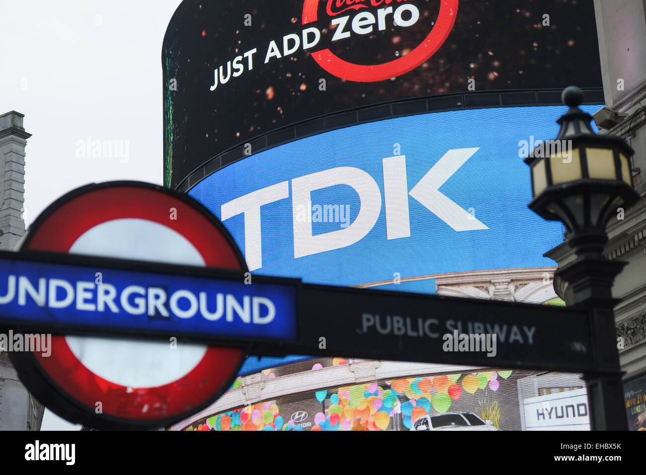 Piccadilly Circus, London, UK. 11th March 2015. Electronics company TDK is to stop its iconic neon advertising in - Stock Image