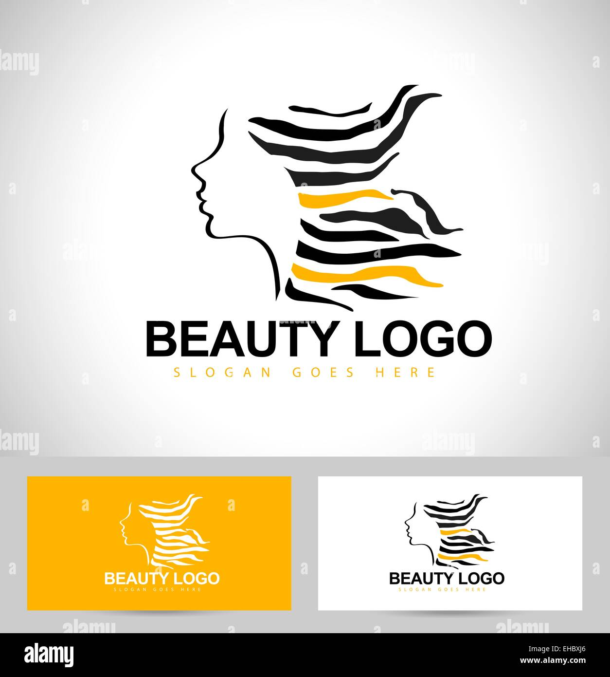 Beauty Female Face Logo Design.Cosmetic salon logo design. Creative Woman Face Vector. Hair Salon Logo. - Stock Image