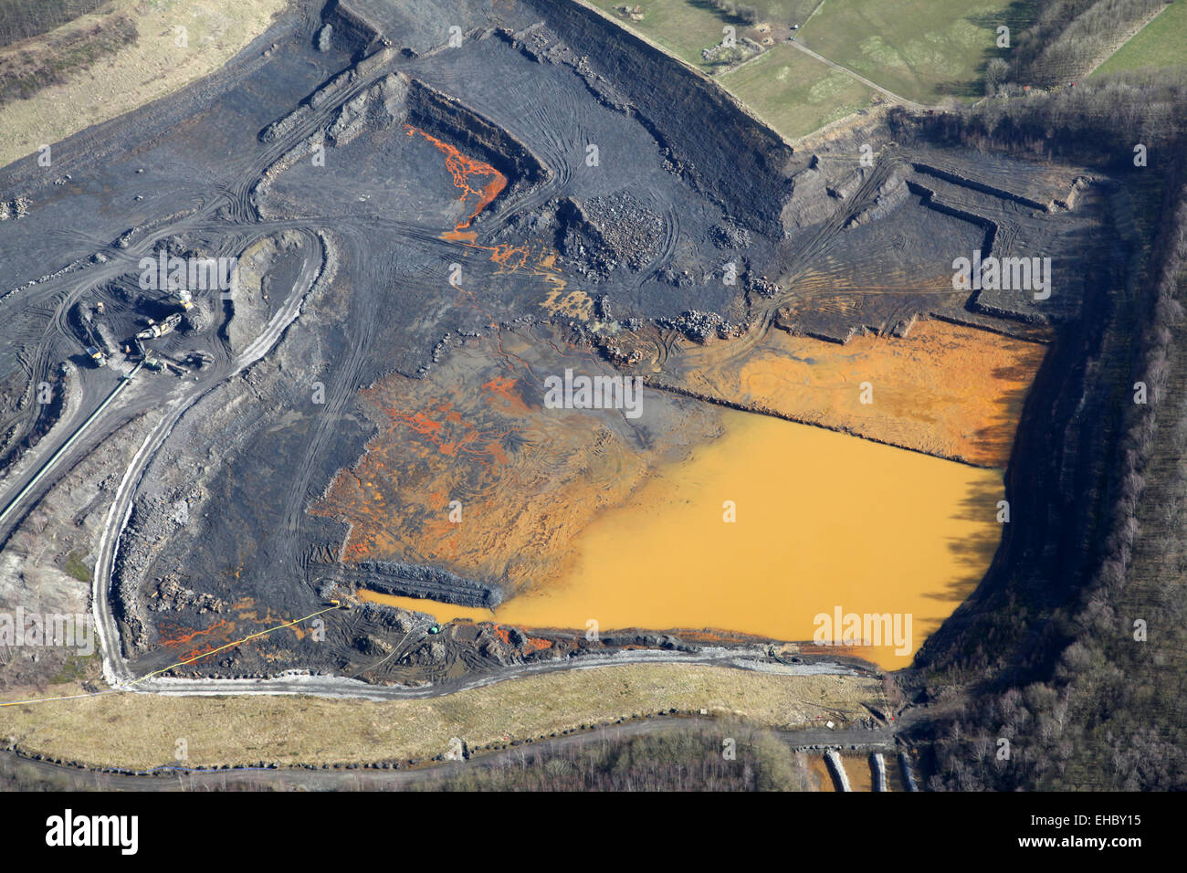 aerial view of a shale quarry in England, UK - Stock Image