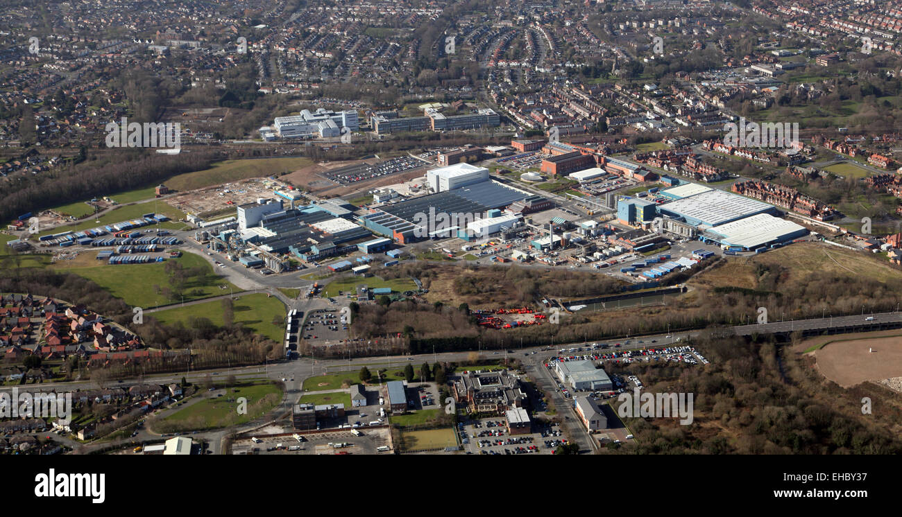 aerial view of Unilever factory at Bromborough on the Wirral, Merseyside, UK - Stock Image