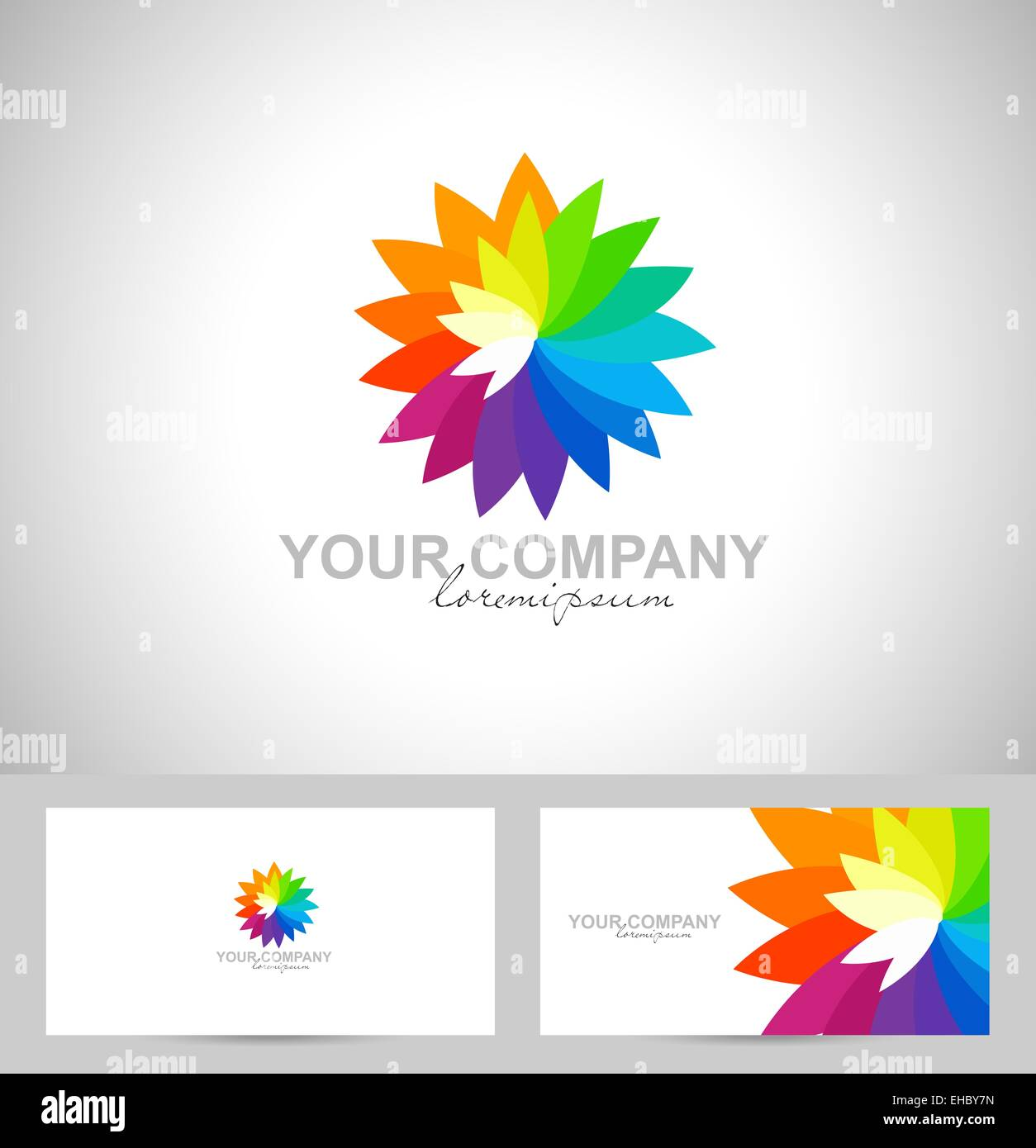 Abstract colorful flower logo template stock photos abstract creative flower vector logo with colorful rainbow petals and business card template stock image reheart Images