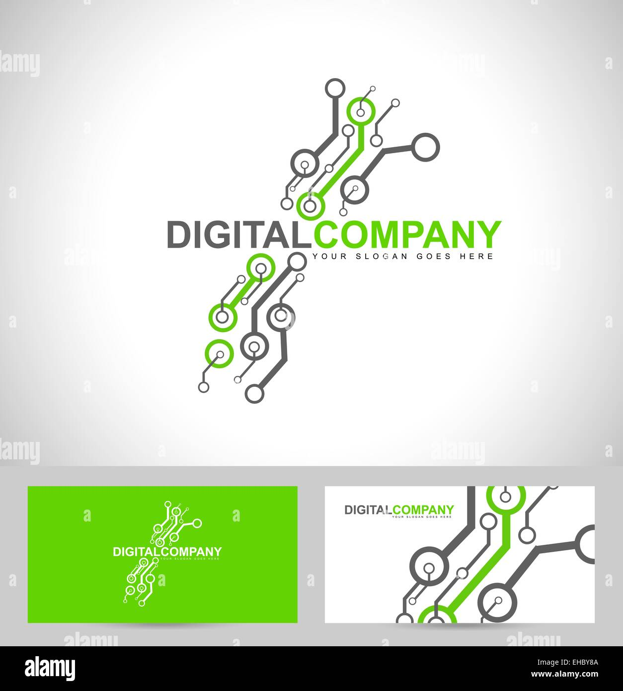Digital electronics logo design. Creative electronic circuits logo vector - Stock Image