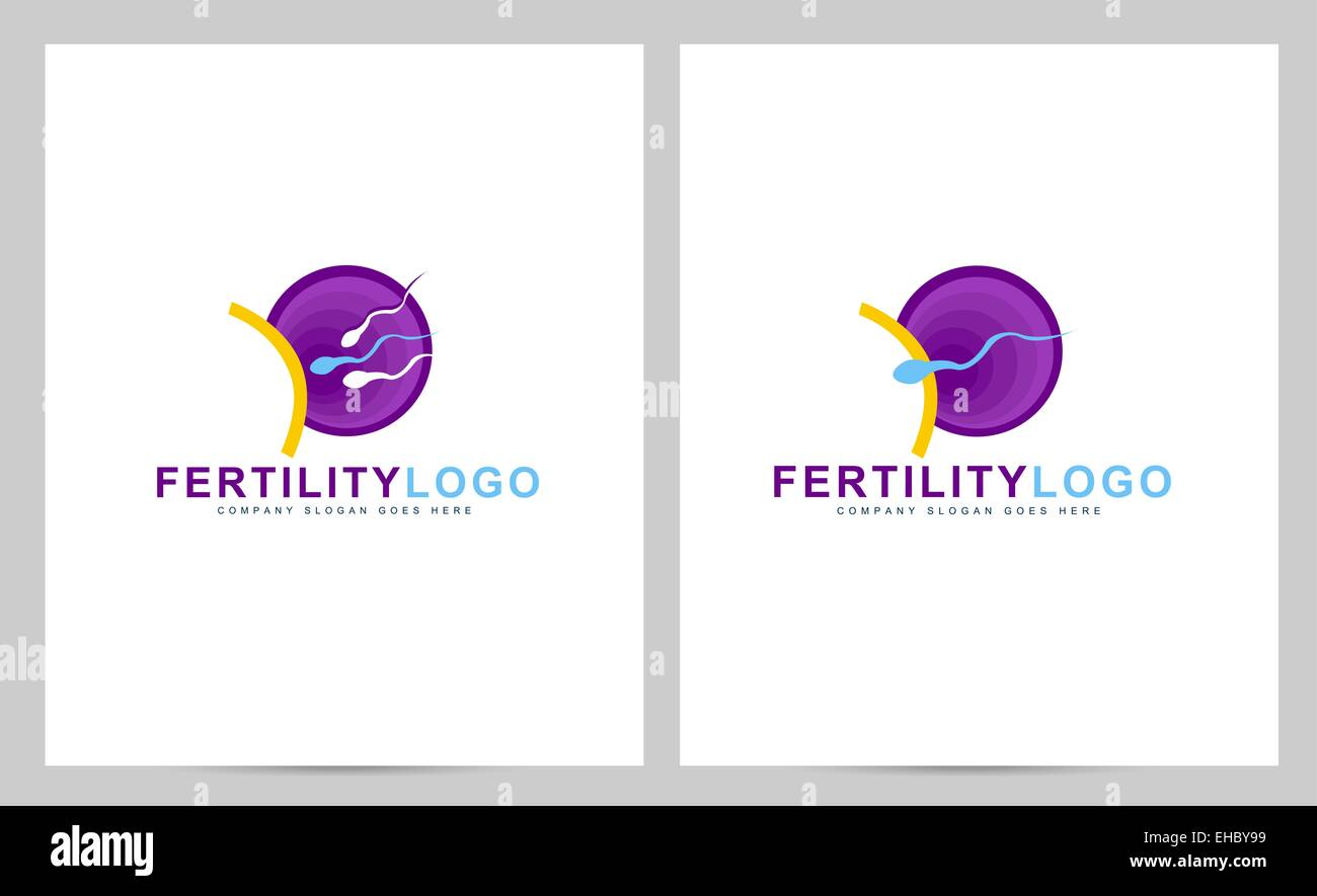 Fertility logo concept. Creative pregnancy clinic vector logo with abstract spermatozoon and egg - Stock Image