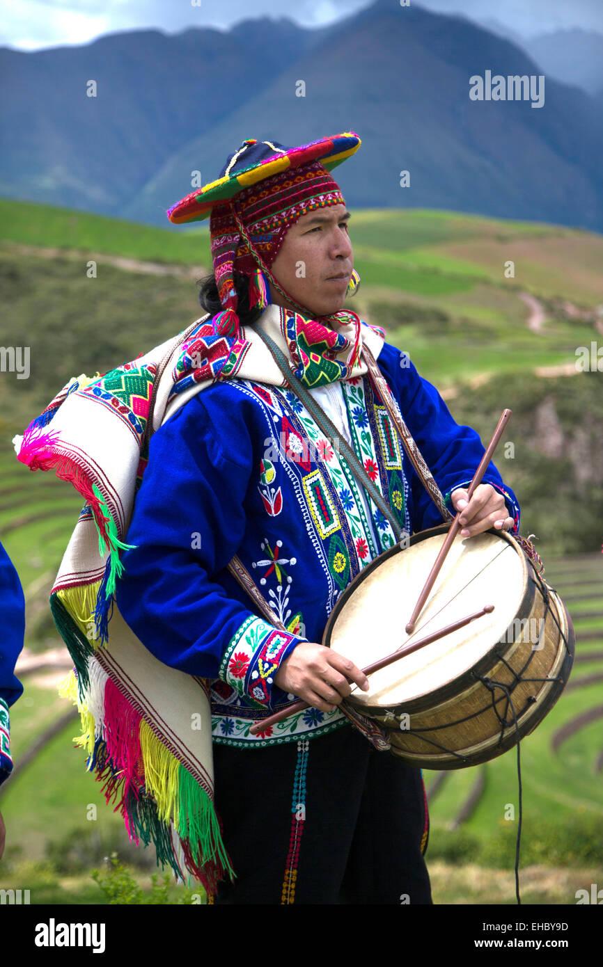 Traditional Inca Dancers in costume, Inca terraces of Moray,  Cusco Region, Urubamba Province, Machupicchu District, - Stock Image