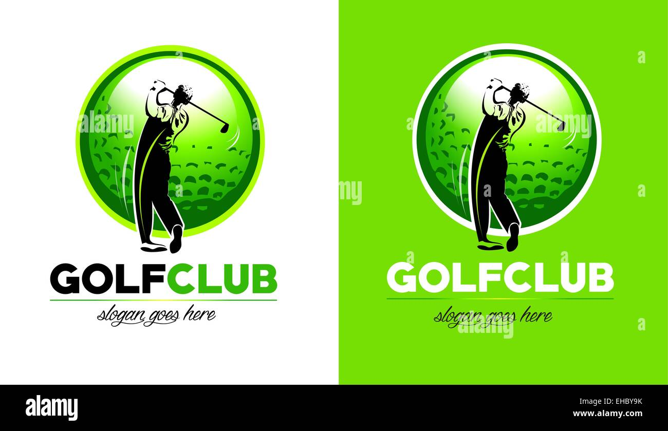Golf Logo Design Golf Club Icon With Golfer Hitting The Ball Stock Photo Alamy