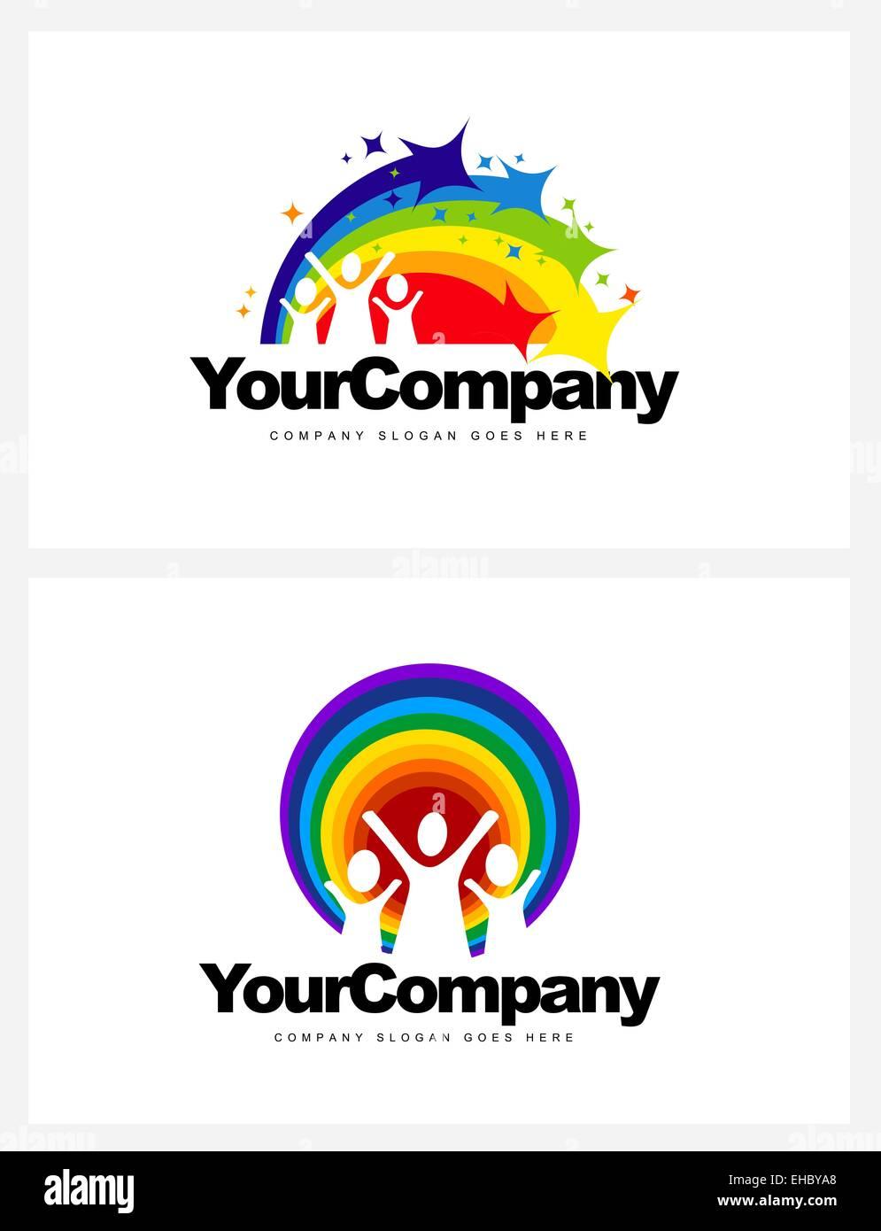 Kindergarten Logo Design. Vector design elements for a kindergarten with rainbow and kids - Stock Image