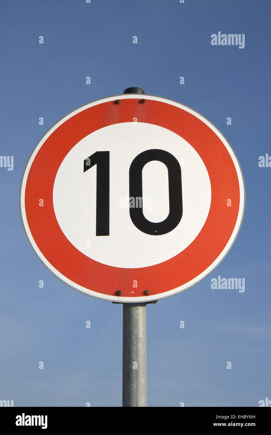 a german speed limit sign outdoors Stock Photo