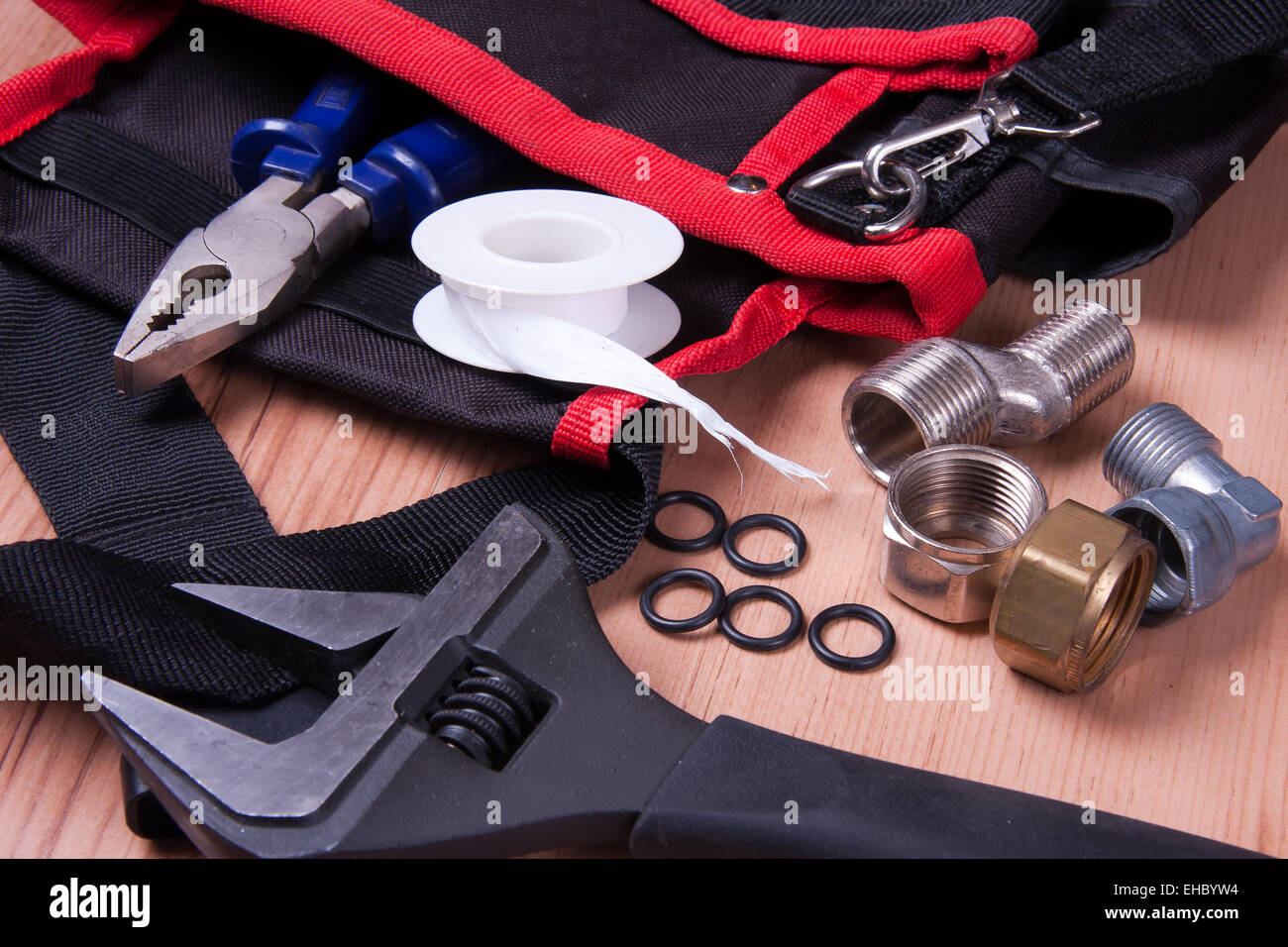 Professional plumbing tools and seals placed in the workplace Stock ...