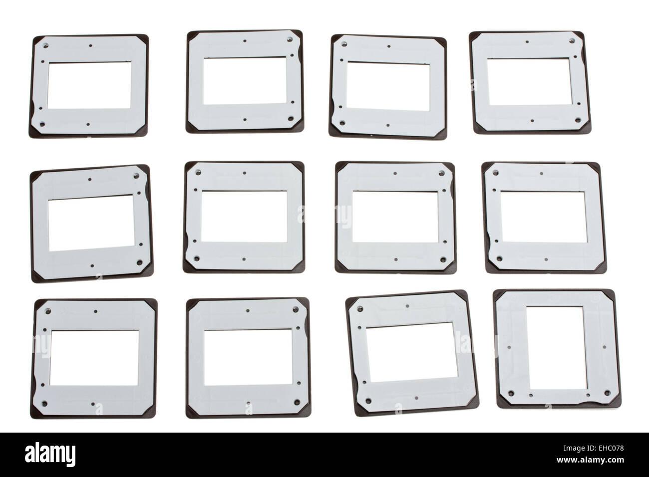 twelve slide frames isolated on white - Stock Image