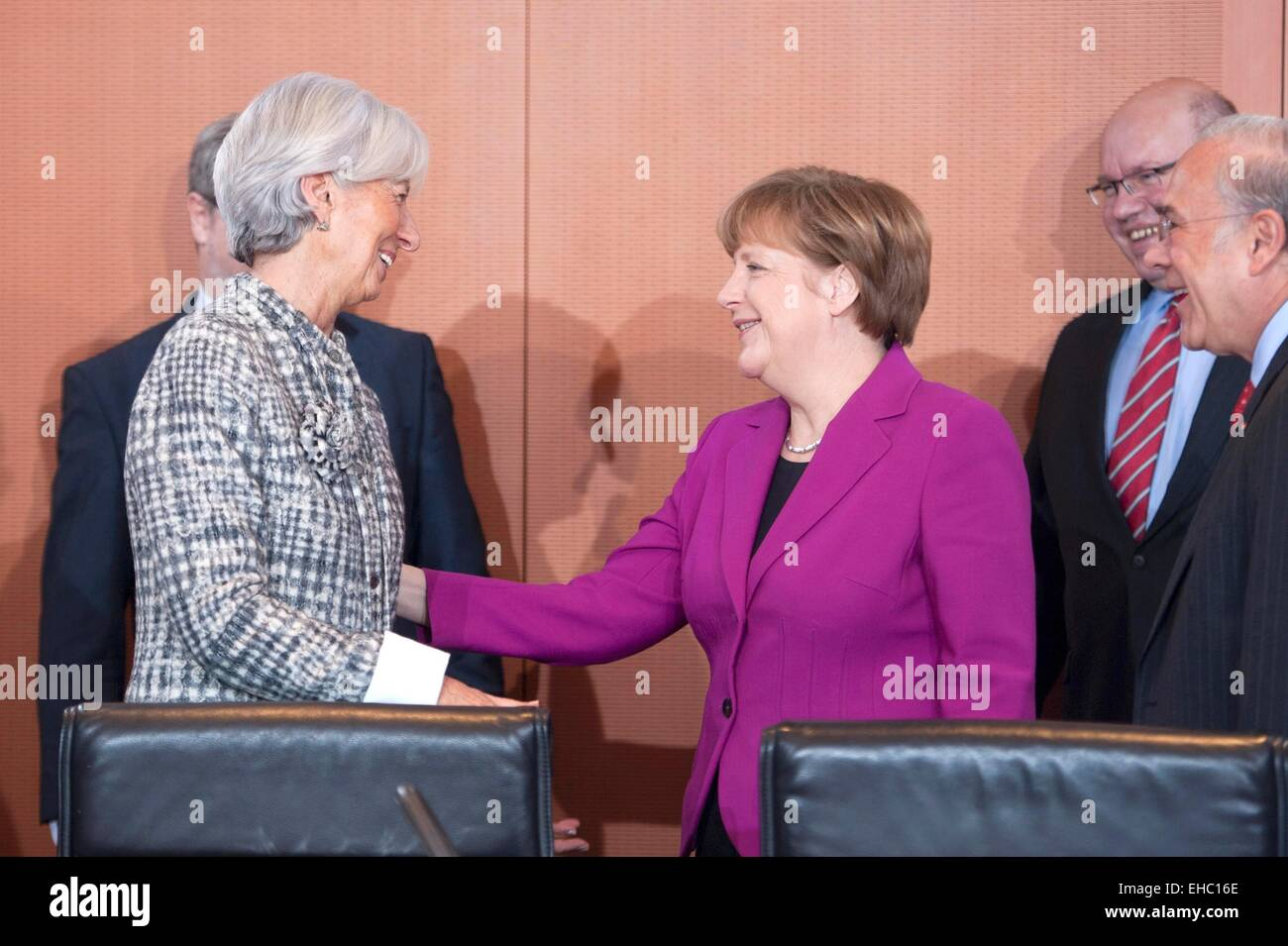 German Chancellor Angela Merkel (CDU, R) welcomes Managing Director of the International Monetary Fund (IMF) Christine - Stock Image