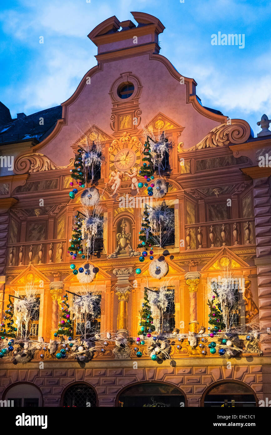 Renaissance house facade 16th century, trompe-l'œil painting, painter Edgar Mahler 1987, Christmas decoration, - Stock Image