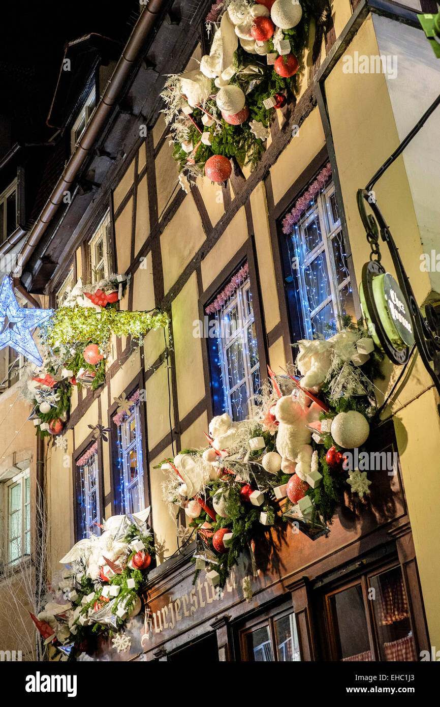 'Chez Yvonne' restaurant with Christmas decoration Strasbourg Alsace France - Stock Image