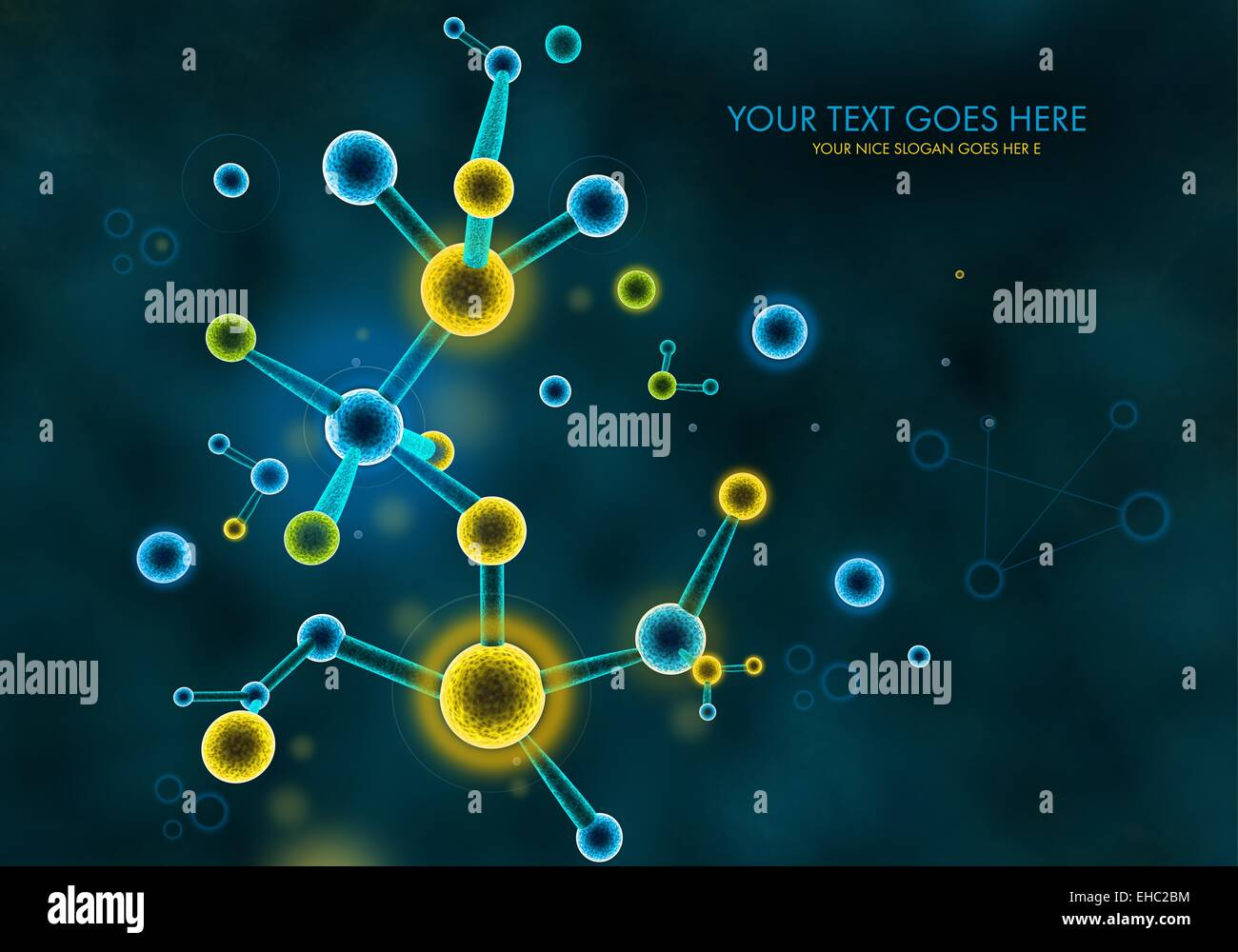 A 3D illustration representing chemistry organic protein molecules formations and  structures on a dark background Stock Photo